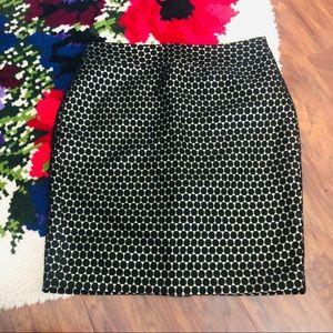 NWT Ann Taylor Black & Gold Polka Dot Pencil Skirt